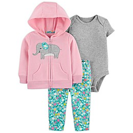 carter's® 3-Piece Elephant Little Jacket, Bodysuit, and Pant Set in Pink/Blue