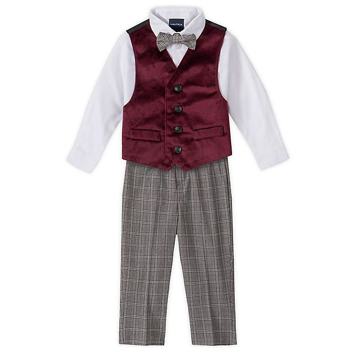 Alternate image 1 for Nautica® 4-Piece Velvet Vest, Shirt, Bow Tie, and Pant Set in Burgundy