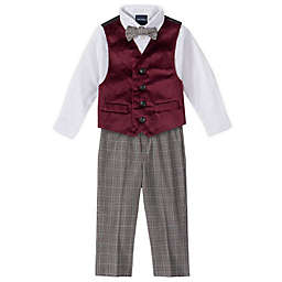 Nautica® 4-Piece Velvet Vest, Shirt, Bow Tie, and Pant Set in Burgundy