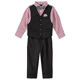 Nautica® 4-Piece Button Up Vest, Plaid Shirt, Bow Tie, and Pant Set in Red/Black