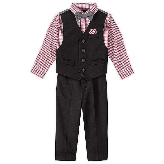 Alternate image 1 for Nautica® 4-Piece Button Up Vest, Plaid Shirt, Bow Tie, and Pant Set in Red/Black