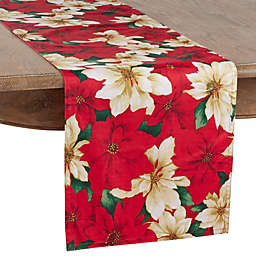 Saro Lifestyle Poinsettia Table Runner in Red