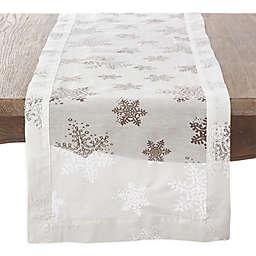 Saro Lifestyle Burnout Snowflake Table Runner in White