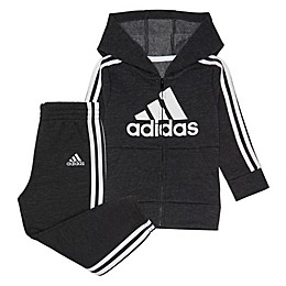 Adidas® 2-Piece Fleece Jacket and Jogger Pant Set in Grey