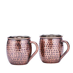 Old Dutch International 16 oz. Hammered Moscow Mule Mugs in Antique Copper (Set of 2)