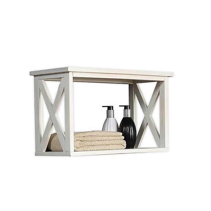 Alternate image 1 for X-Frame Bathroom Wall Shelf in White Wash