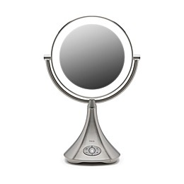 iHome® 1X/7X Portable Double-Sided 9-Inch Vanity Mirror with Bluetooth® Speaker