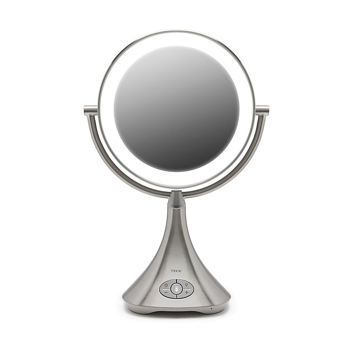 Alternate image 1 for iHome® 1X/7X Portable Double-Sided 9-Inch Vanity Mirror with Bluetooth® Speaker