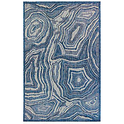 Liora Manné Carmel Agate 3'3 x 4'11 Indoor/Outdoor Accent Rug in Navy