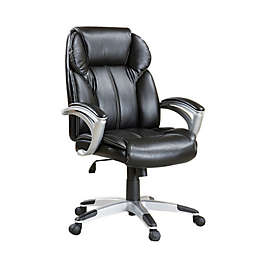 Ripon Faux Leather Adjustable Office Chair in Black/Silver