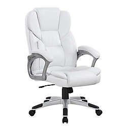 Slate Adjustable Faux Leather Office Chair in White