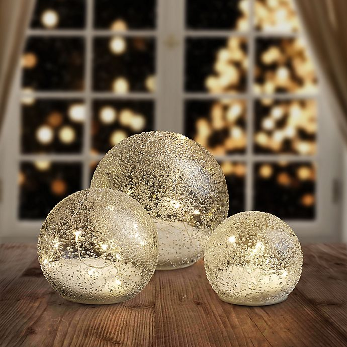 Alternate image 1 for LED Glass Ball Lights in Clear (Set of 3)