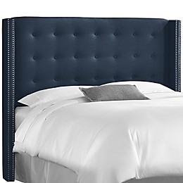 Skyline Furniture Nail Button Tufted Wingback Headboard in Navy