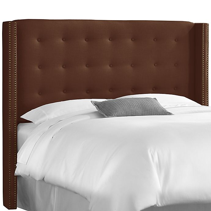 Alternate image 1 for Skyline Furniture Full Nail Button Tufted Wingback Headboard in Linen Chocolate