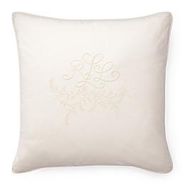 Lauren Ralph Lauren Claudia Embroidered Logo 20-Inch Square Throw Pillow in Cream