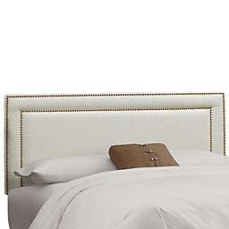 Skyline Furniture Full Nail Button Border Headboard in Linen Talc
