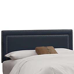 Skyline Furniture King Nail Button Border Headboard in Linen Navy