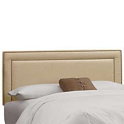 Skyline Furniture Queen Nail Button Border Headboard in Linen Sandstone