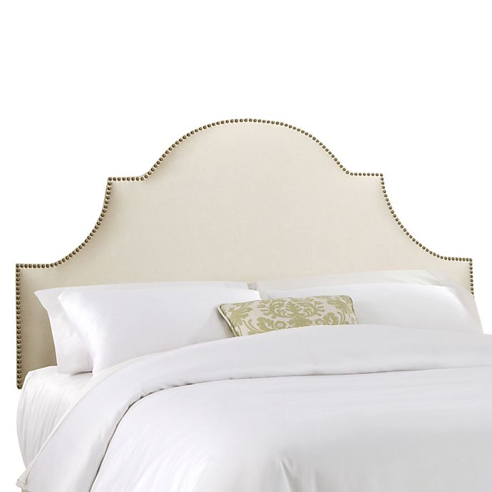 Alternate image 1 for Skyline Furniture California King Nail Button High Arch Notched Headboard in Shantung Parchment