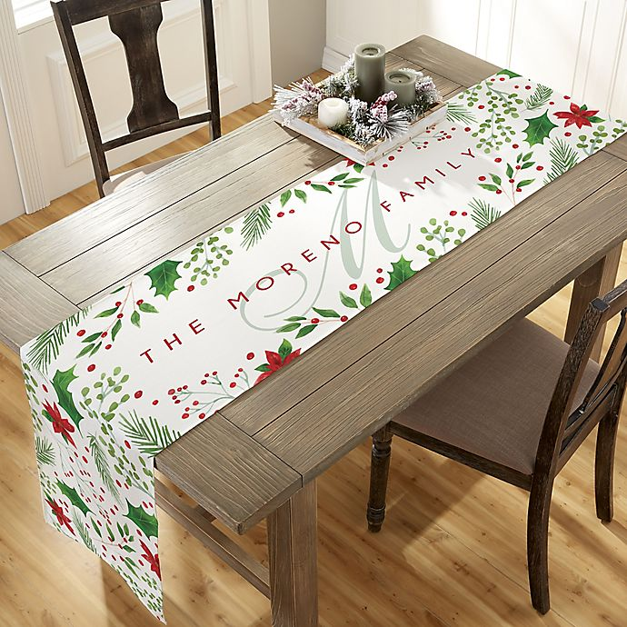 Holly Berry Personalized Christmas Table Runner Bed Bath Beyond
