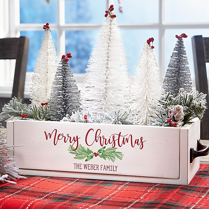 Alternate image 1 for Watercolor Wreath Personalized Christmas Wood Centerpiece Box