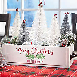 Watercolor Wreath Personalized Christmas Wood Centerpiece Box
