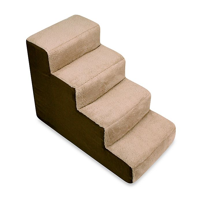 Alternate image 1 for Padded 4-Step Pet Stairs in Brown/Tan