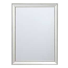 Beaded 36-Inch x 28-Inch Rectangular Wall Mirror in Silver
