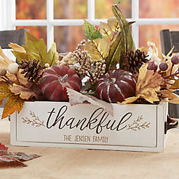 Thankful Personalized Fall Wooden Box Centerpiece