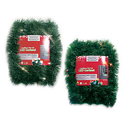 Brite Star Battery Operated 18-Foot Pine Garland with Multicolor LED Lights