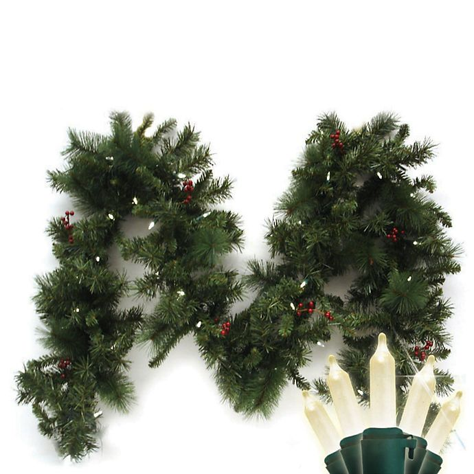 Alternate image 1 for Brite Star Battery Operated 9-Foot Anchorage Fir Garland with 35 Warm White LED Lights