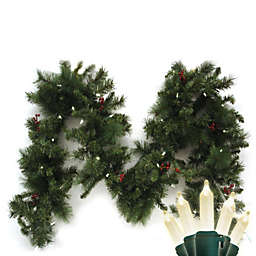 Brite Star Battery Operated 9-Foot Anchorage Fir Garland with 35 Warm White LED Lights