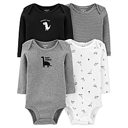 carter's® 4-Pack Dino Long Sleeve Bodysuits