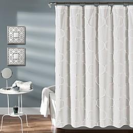 Lush Decor Avon Chenille Trellis Shower Curtain in White