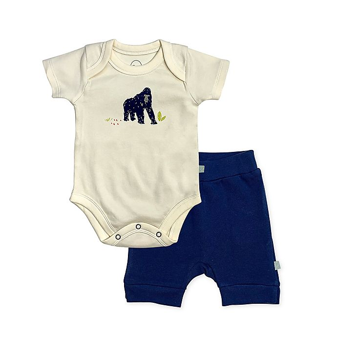 Alternate image 1 for Finn by Finn + Emma® Ape Organic Cotton Bodysuit and Short Set in Navy
