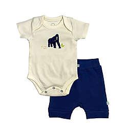 Finn by Finn + Emma® Size 3-6M Ape Organic Cotton Bodysuit and Short Set in Navy