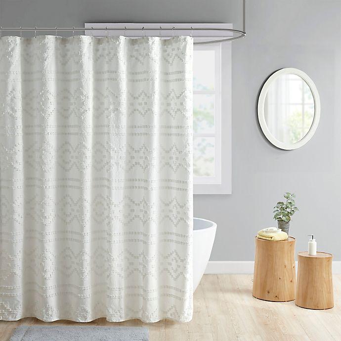 Alternate image 1 for Intelligent Design Annie Clipped Jacquard Seersucker Shower Curtain