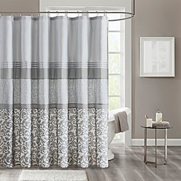 510 Design Ramsey Printed and Embroidered Shower Curtain with Liner in Grey