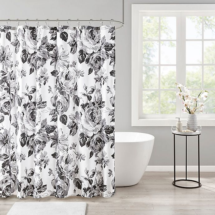 Alternate image 1 for Intelligent Design Dorsey Floral Print Shower Curtain in Black/White