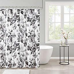 Intelligent Design Dorsey Floral Print Shower Curtain in Black/White