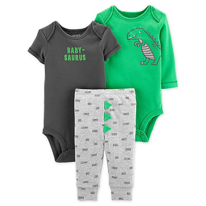 Alternate image 1 for carter's® 3-Piece Little Dinosaur Bodysuits and Pant Set in Green/Black