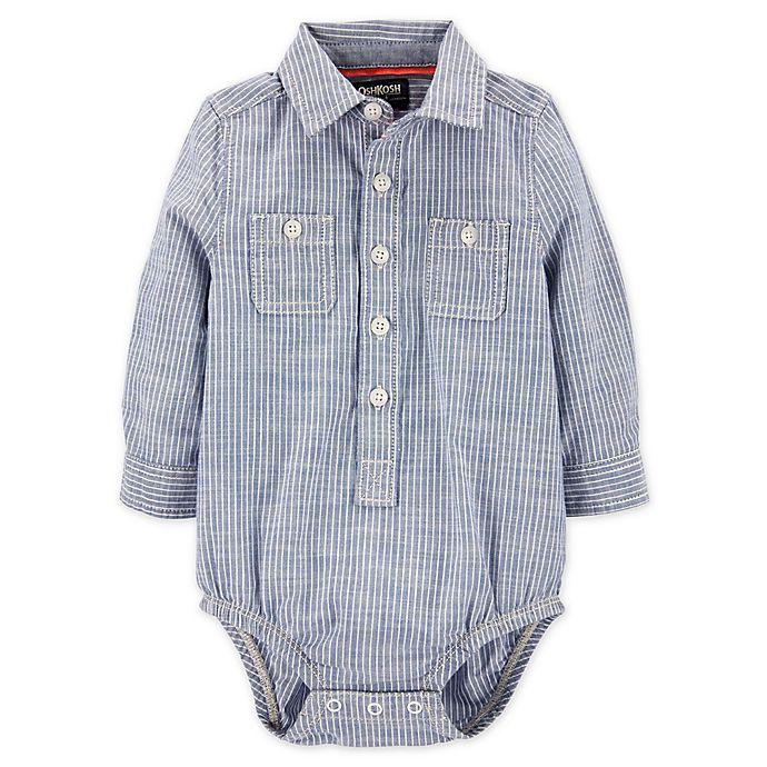 Alternate image 1 for OshKosh B'gosh® Hickory Striped Button-Front Bodysuit