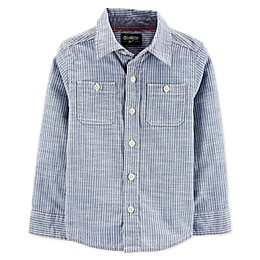 OshKosh B'gosh® Toddler Hickory Striped Button Front Shirt in Blue