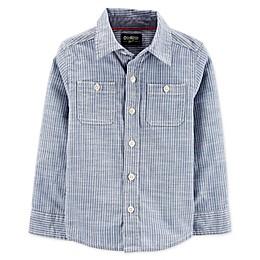 OshKosh B'gosh® Toddler Hickory Striped Button Front Shirt in Blue