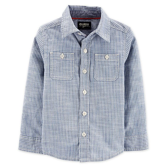 Alternate image 1 for OshKosh B'gosh® Toddler Hickory Striped Button Front Shirt in Blue