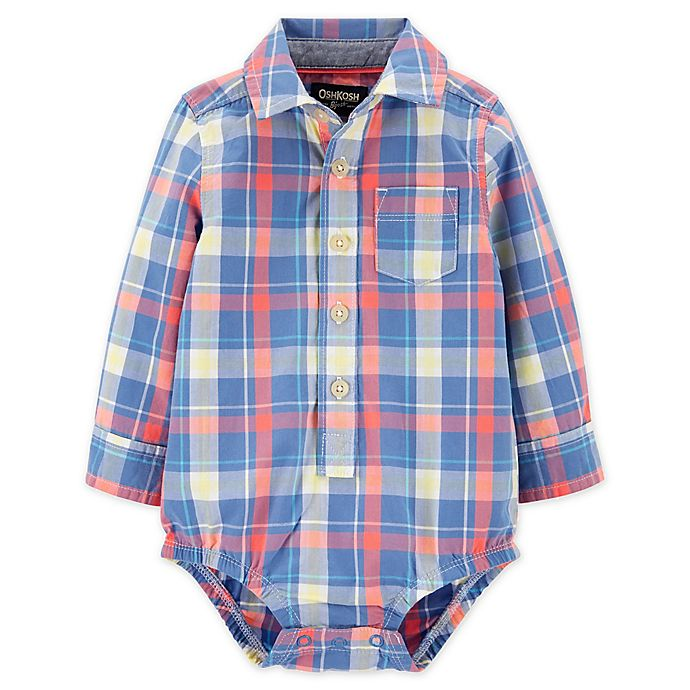 Alternate image 1 for OshKosh B'gosh® Plaid Button-Front Bodysuit in Blue/Red