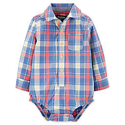 OshKosh B'gosh® Plaid Button-Front Bodysuit in Blue/Red