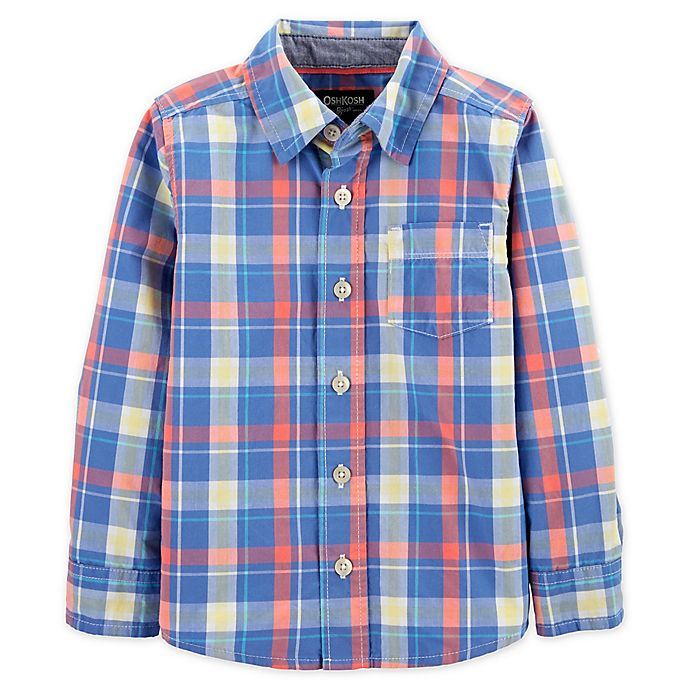 Alternate image 1 for OshKosh B'gosh® Toddler Plaid Button-Front Shirt