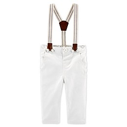 OshKosh B'gosh® Wonton Khaki Suspender Pants in White