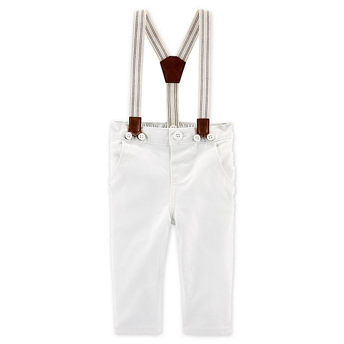 Alternate image 1 for OshKosh B'gosh® Wonton Khaki Suspender Pants in White